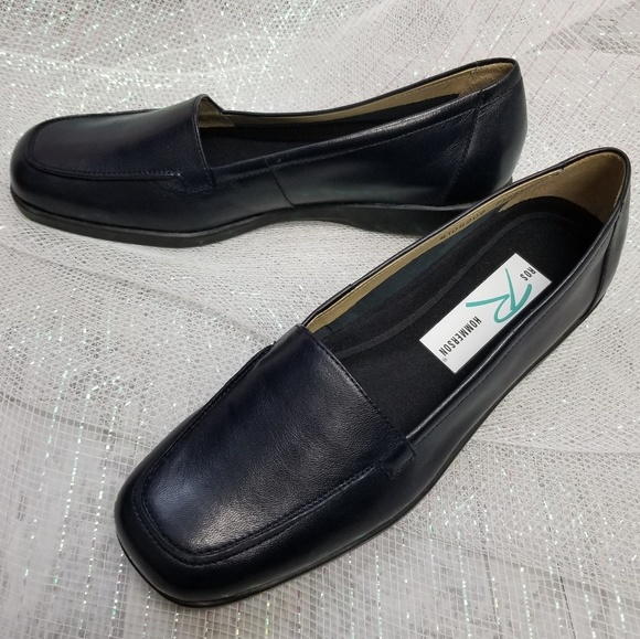 Ros Hommerson Dark Blue Leather Loafers Size 7.5